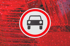 Cars prohibited road sign Stock Photo