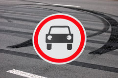 Cars prohibited road sign Stock Photography