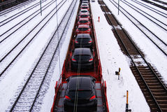 Cars on railway Stock Images