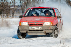 Cars rally january dnipro city ukraine car during winter competition Royalty Free Stock Images