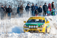 Cars rally january dnipro city ukraine car during winter competition Royalty Free Stock Photography