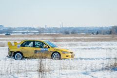 Cars rally january dnipro city ukraine car during winter competition Stock Photo