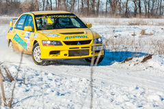 Cars rally january dnipro city ukraine car during winter competition Stock Photos