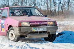 Cars rally january dnipro city ukraine car during winter competition Stock Photography
