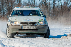 Cars rally january dnipro city ukraine car during winter competition Royalty Free Stock Image
