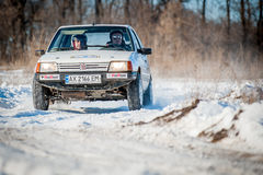 Cars rally january dnipro city ukraine car during winter competition Royalty Free Stock Photos