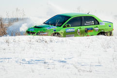 Cars rally january dnipro city ukraine car during winter competition Royalty Free Stock Photo