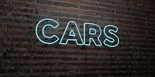 CARS -Realistic Neon Sign on Brick Wall background - 3D rendered royalty free stock image Stock Photography