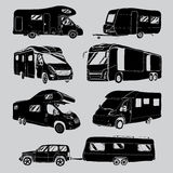 Cars Recreational Vehicles Camper Vans Caravans Icons Royalty Free Stock Photography
