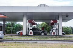 cars are refueled with gasoline stock photo