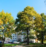 Cars and residential houses in Zverynas district Royalty Free Stock Image
