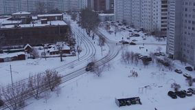 Cars ride by road near urban yard at winter, Siberia. Full HD Resolution 1920×1080 Video Frame Rate 29.97 Length 0:30 stock video footage