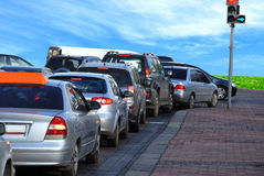 Cars on the road. Traffic jam Stock Images