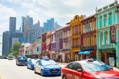 Cars on road, Chinatown, Singapore Stock Images