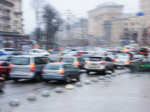 Cars on the road in the city blurred focus Stock Photography