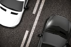 Cars on the Road Closeup. 3D Illustration. Two Ways Road Stock Image