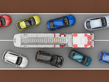 Cars on the road give way fire truck. 3d rendering Royalty Free Stock Images