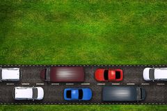 Cars on the Road Illustration Royalty Free Stock Images