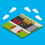 Cars on the road. Isometric icon on a blue background cars on the road vector illustration