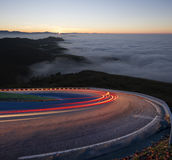Cars in road mountain at night Stock Photos