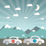Cars on Road with Mountains Stock Photo