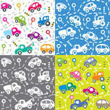 Cars on the road. Seamless kids pattern set. Stock Photography