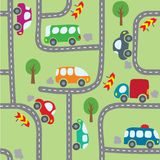 Cars on the road. Seamless pattern. Stock Image
