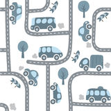 Cars on the road. Seamless pattern. Royalty Free Stock Photo
