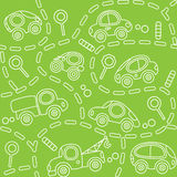 Cars on the road. Seamless pattern. Royalty Free Stock Image