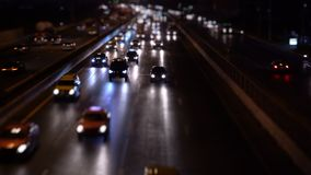 Cars on road traffic at city night stock video