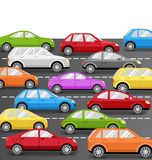 Cars on Road. Transport Background Stock Photos