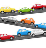 Cars on Road. Transport Background Stock Images