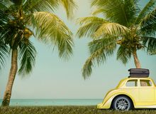 Cars on the road travel go relax palm trees. Cars on the road travel go to beach sea relax palm trees coconut Royalty Free Stock Images