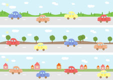 Cars on road. Vector illustration of cars on road Royalty Free Stock Photos