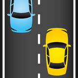 Cars on the road. Vector illustration. Cars on the road vector illustration