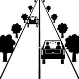 Cars on the road. Vector / illustration. Two cars are driving on the road stock illustration