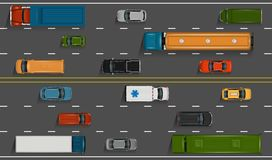 Cars on the road. Vector vehicles on the highway illustration. Various detailed cars and trucks with top view. Road auto transport on grey asphalt background Stock Image