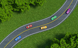 Cars on the road, the view from the top Stock Image