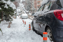 Cars and roads covered with snow Stock Image