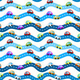 Cars on roads seamless background royalty free illustration
