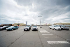 Cars on roof parking at shopping and entertainment center Stock Photography