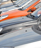 Cars row. A row of brand new colorful cars in the market in the open Stock Photography