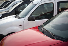 Cars in a row. Car dealership Royalty Free Stock Photography