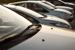 Cars in a row. Car dealership Royalty Free Stock Photo