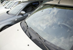 Cars in a row. Car dealership Stock Images