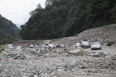 Cars  on rugged road Royalty Free Stock Photography