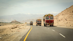 Cars running pass the road in Ladakh Stock Photography