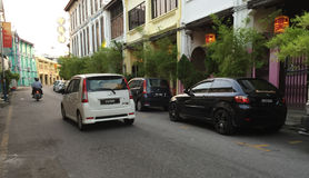 Cars running on street in Georgre Town, Penang, Malaysia Royalty Free Stock Photos