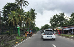 Cars running on street in Jogja, Indonesia Royalty Free Stock Photography