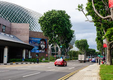 Cars running on street nearby Durian Theather in Singapore Royalty Free Stock Photography